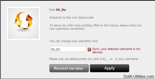Change username Garena
